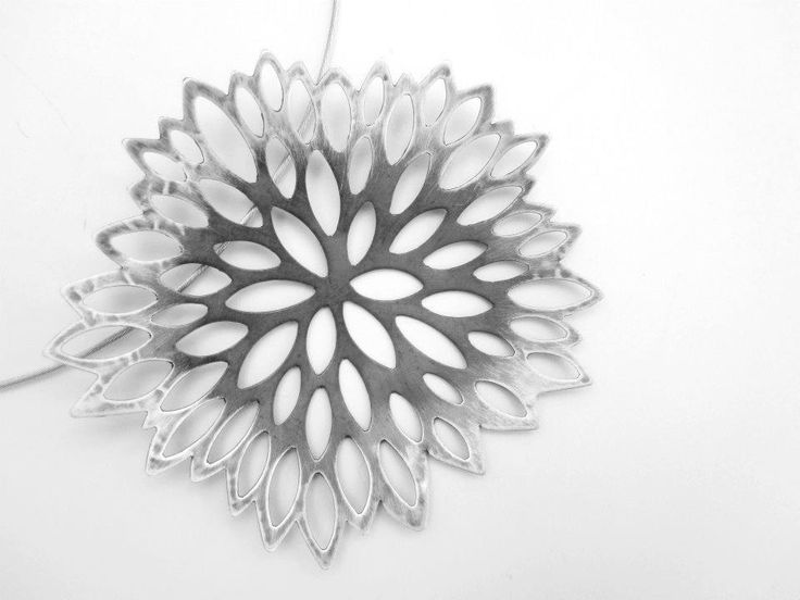 Sterling silver and oxidised silver Flower necklace by kim Mitchell