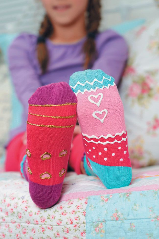 These pretty DIY non-slip socks are fun to make and are great stocking fillers!
