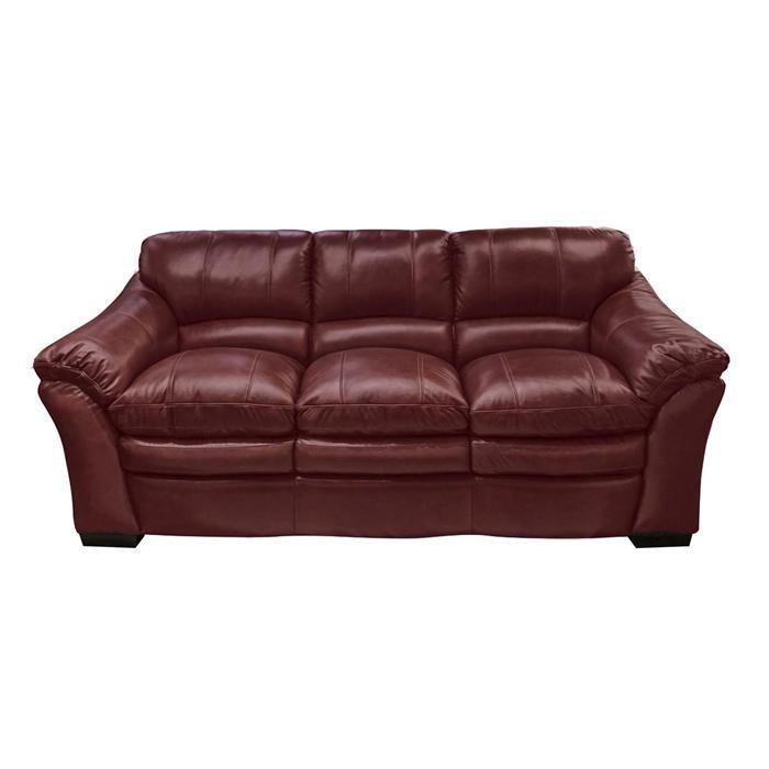 Burton Leather Sofa In Burgundy Nebraska Furniture Mart
