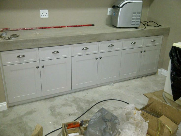Flat panel painted doors in cement cavity
