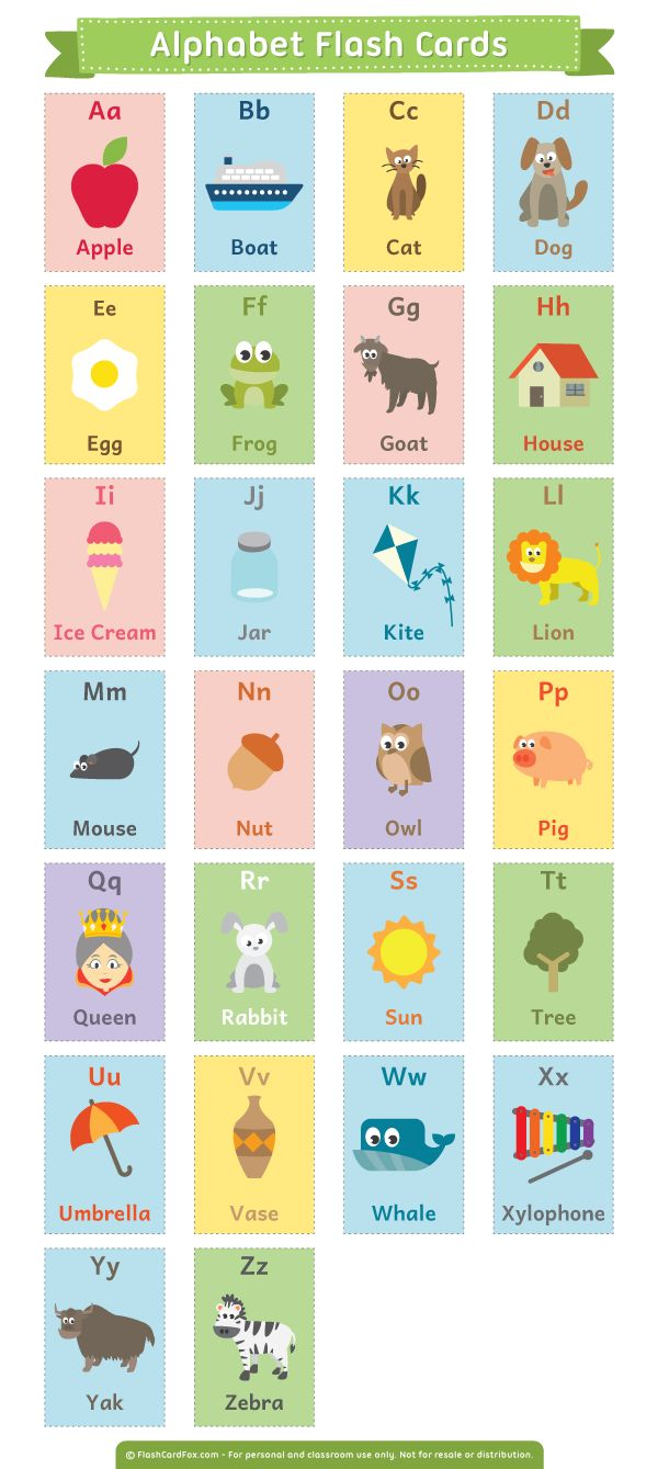 Free printable alphabet flash cards. Download them in PDF format at http://flashcardfox.com/download/alphabet-flash-cards/