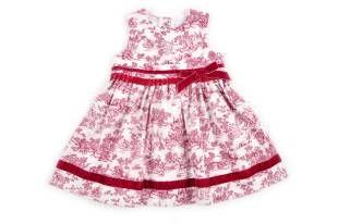 Vestido para bebe niña, con estampado en color vinotinto.