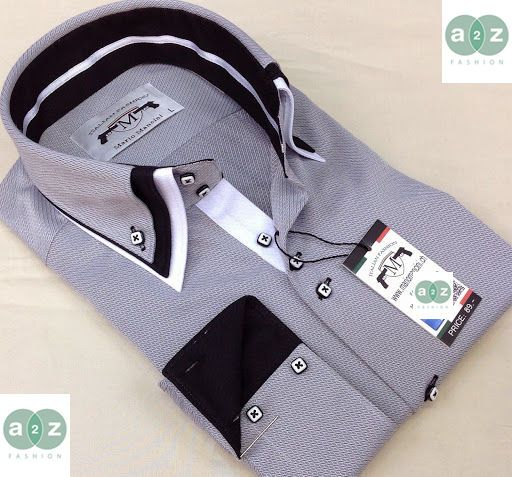 Brand New Men's Formal, Smart, Grey, White with Black Double Casual Italian Design Slim Fit Textured Shirt, with Contrast White with Black Blue Stripes