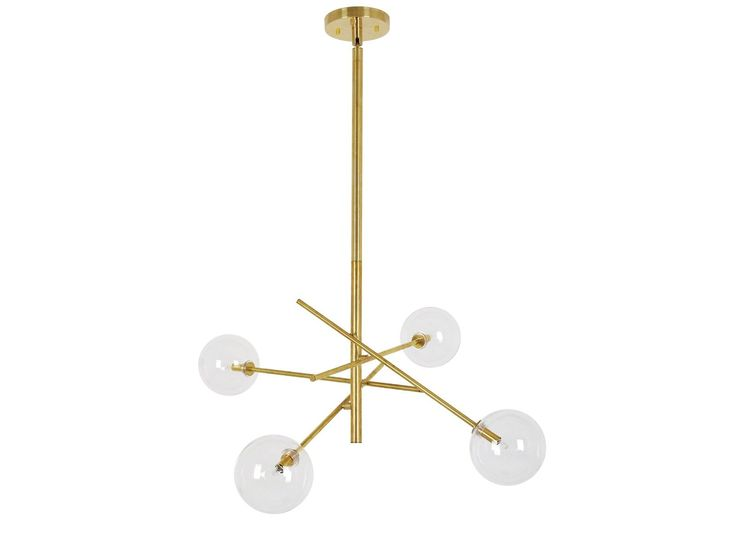 Aksel 4 Light Pendant in Brass/Clear