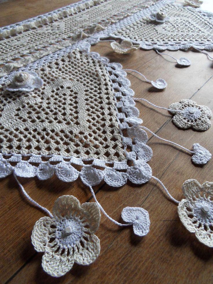 rideau au crochet mary's charme fleur amovible : Textiles et tapis ...
