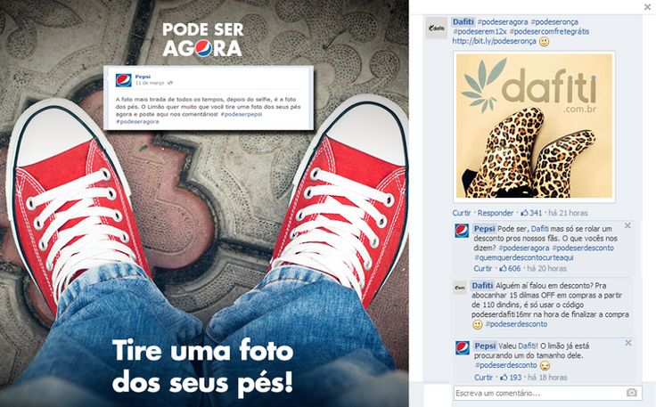 Integração da Pepsi e Dafiti num mesmo post: Uma pegou carona na divulgação e a outra propõs desconto para seus fãs. Resultado = Sucesso! #podeserpepsi #podeseragora