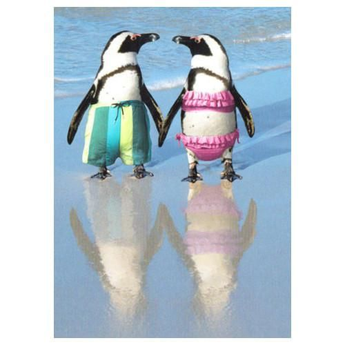 Our Penguin Couple On The Beach Anniversary Card makes for a sweet way to say Happy Anniversary. The inside of this adorable card featuring a pair of penguins i