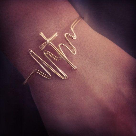 Heartbeat Cross bracelet on Etsy, $37.00