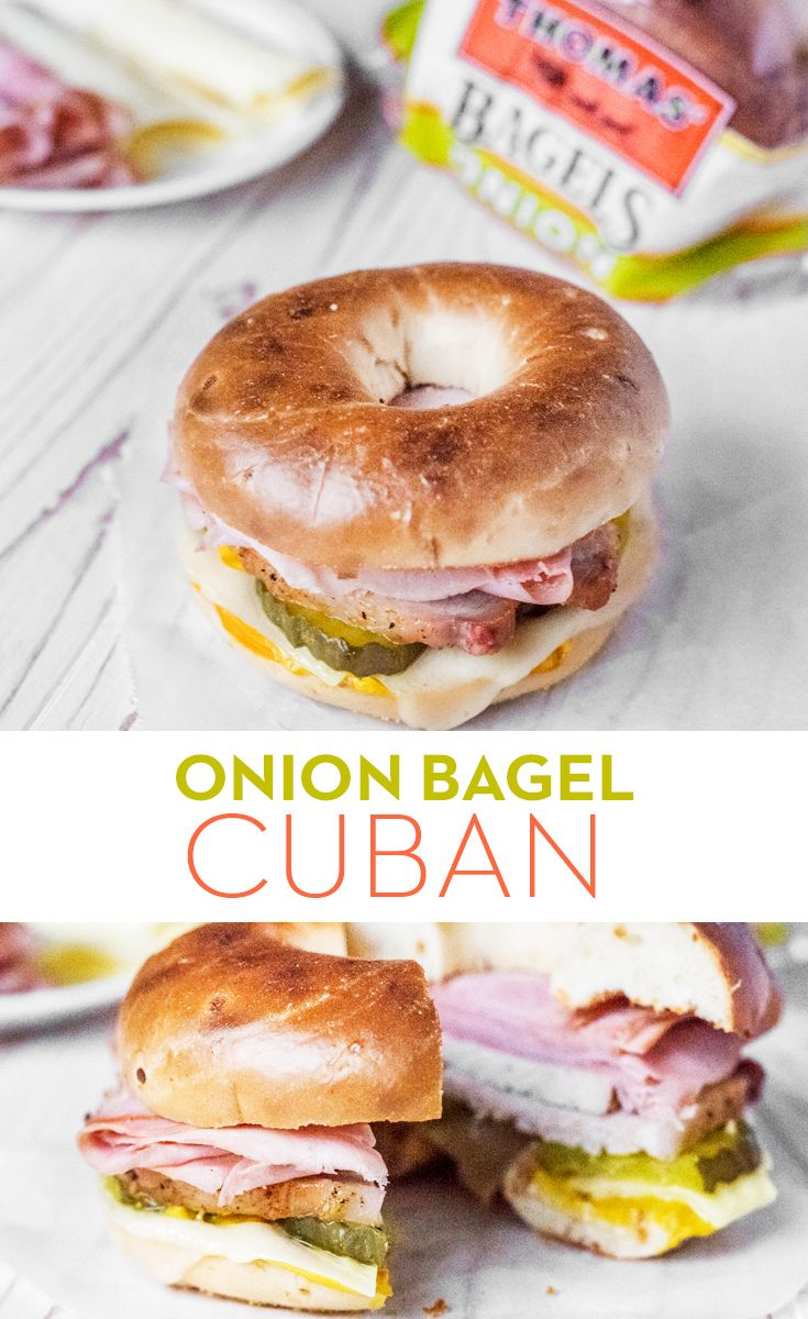 Onion Bagel Cuban: If you love traditional Cuban sandwiches, you've got to try our version on a Thomas' Onion Bagel. Layer ham, pork, Swiss cheese, dill pickles, mustard and mayonnaise on your bagel and you've got yourself a sandwich worth talking about!