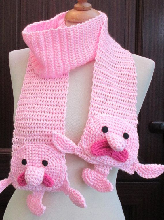 Crochet Pink Blobfish Scarf by twixtseaandpine on Etsy