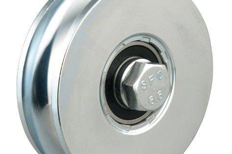 GAH-Alberts 419264 Roue pour portail coulissant, surface galvanisée Bleu, diamètre 100 mm, charge max. 700 kg: Surface bleue galvanisée…