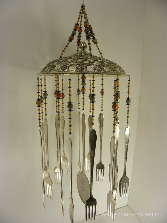 Wind chime with re purposed vintage silver by for Wind chimes out of silverware