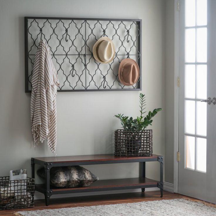 Belham Living Trenton Indoor Bench with Quatrefoil Iron Wall Plaque - ALZ1185