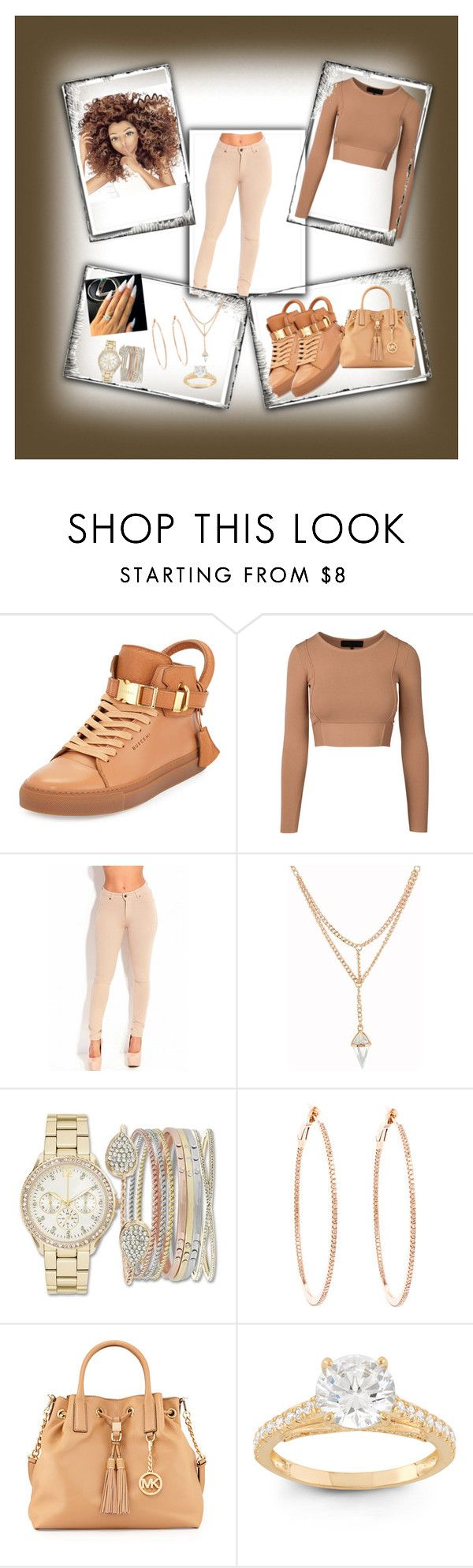 """""""brown skin😍"""" by christevacollins ❤ liked on Polyvore featuring BUSCEMI, Jessica Carlyle, Rosa de la Cruz, MICHAEL Michael Kors and Gioelli"""