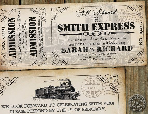 steampunk wedding invitation | Steampunk inspired Train Ticket Invitation for wedding or birthday at ...