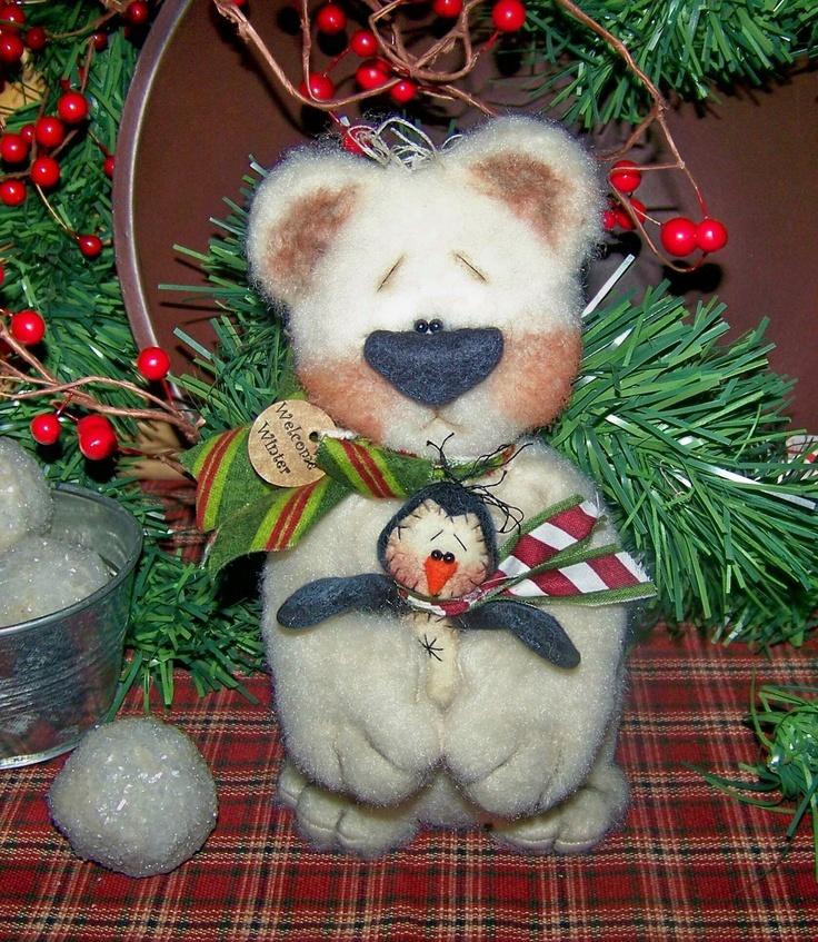 Primitive Winter Christmas Polar Bear with Penguin Shelf Sitter Pattern 43. $11.95, via Etsy.