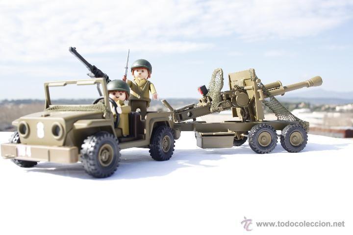 Playmobil Custom - Jeep con remolque Antiaéreo y soldados - Americanos - 100% Playmobil