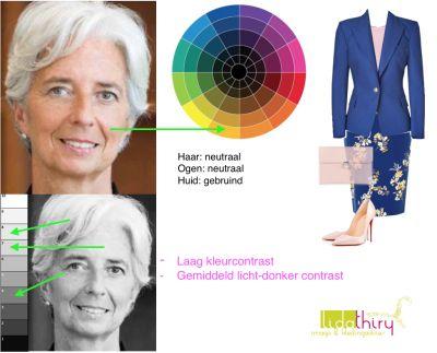 Christine Lagarde heeft een laag #kleurcontrast en een gemiddeld laag-donker contrast. In welke kledingcombinatie's zij op haar mooist is lees je in dit blog.