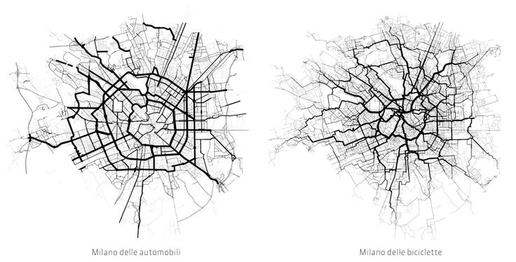 use of streets by cars and bicycles | comparision map | urban planning