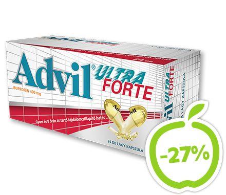 Az Advil® modern lágy kapszulája folyékony formában tartalmazza a hatóanyagot, ami gyors felszívódást,  ezáltal gyors fájdalomcsillapító hatást eredményez. Használhatja lázés gyulladáscsökkentőként is.  Az Advil® nagyban jobban megéri! Hatóanyag: ibuprofén. Vény nélkül kapható gyógyszer: A kockázatokról és a mellékhatásokról olvassa el a betegtájékoztatót, vagy kérdezze meg kezelőorvosát, gyógyszerészét! EP kártyára kapható. Eredeti ár: 2479 Ft, Akciós ár: 1819 Ft