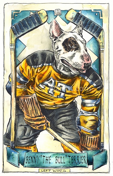 Hockey Dogs - Painting of Vintage hockey card of an American Bull Terrier. Painted by hockey artist Cam Wilson. Limited Edition Prints available. 20%OFF www.oldskullhockey.com