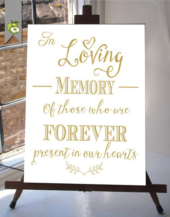 In Loving Memory Wedding Sign Memorial Table Gold and white DIY Printable INSTANT DOWNLOAD your wedding  Table Sign whitesuite