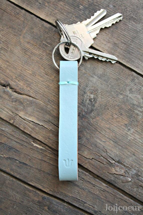 Leather Key Fob Leather Keychain Light Grey by Jolicoeuretcie