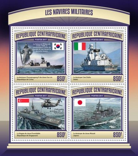 CA17112a Military ships (Chungmugong Yi Sun-sin-class destroyer (Republic of Korea), Statute of Yi Sun-sin (1545–1598), a Korean naval commander in the Joseon Dynasty; Caio Duilio destroyer (Italy); Formidable-class frigate (Republic of Singapore), Navy helicopter HSL-47; Akizuki-class destroyer (Japan))