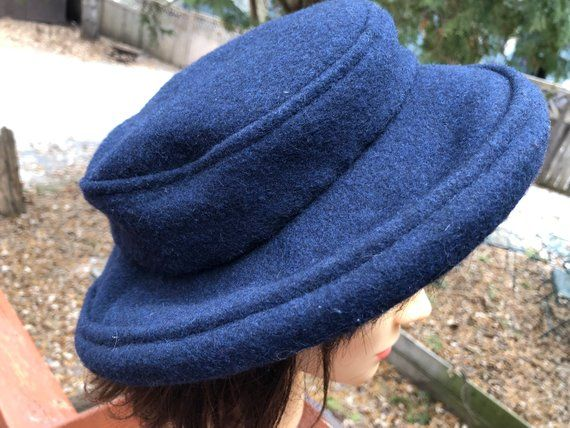 2bc277f5e60ed Blue Wool Vintage Hat Hand Made in Vancouver Canada Woody Hung Size Small  Classic Wool Warm Winter Sailor Nautical Hat Cap