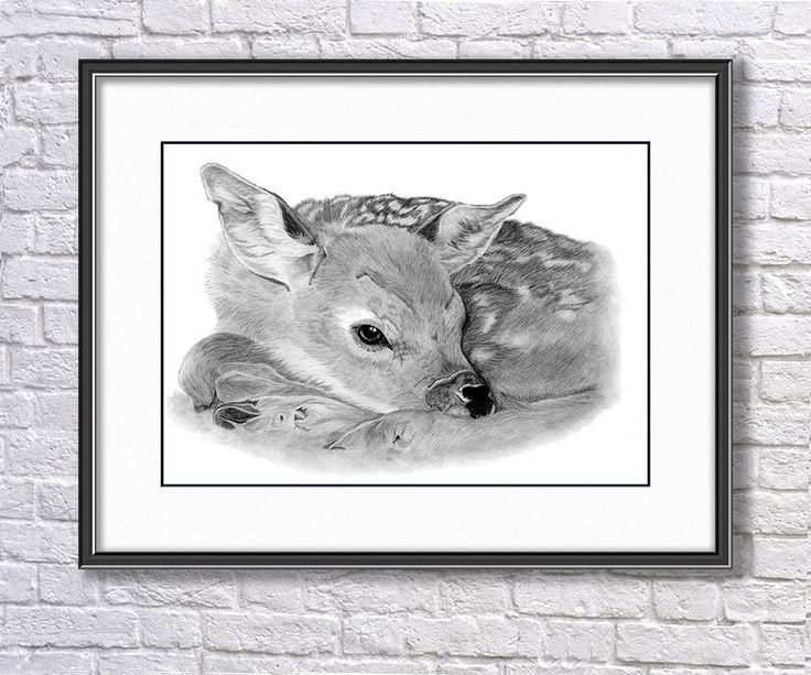Original Fawn Graphite Drawing, Fawn Drawing, Baby Roe Deer Original Art, Wildlife Original Drawing, Original Pencil  Art, Original Wall Art by SBsPrintables on Etsy