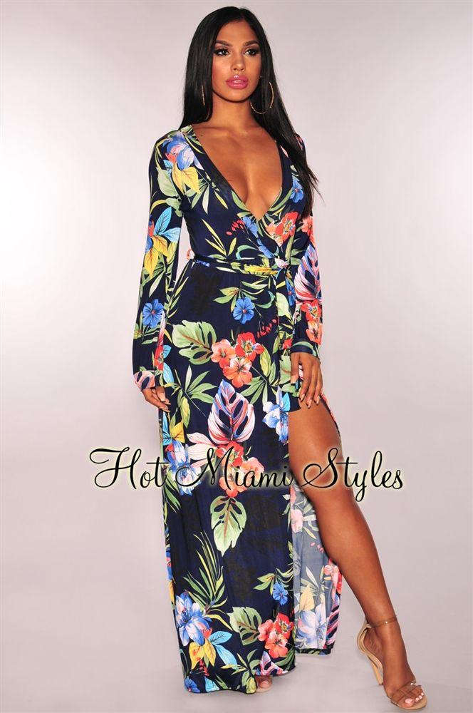 17a34ec06082 Navy Blue Tropical Print Faux Wrap Long Sleeves Maxi Dress in 2019 ...