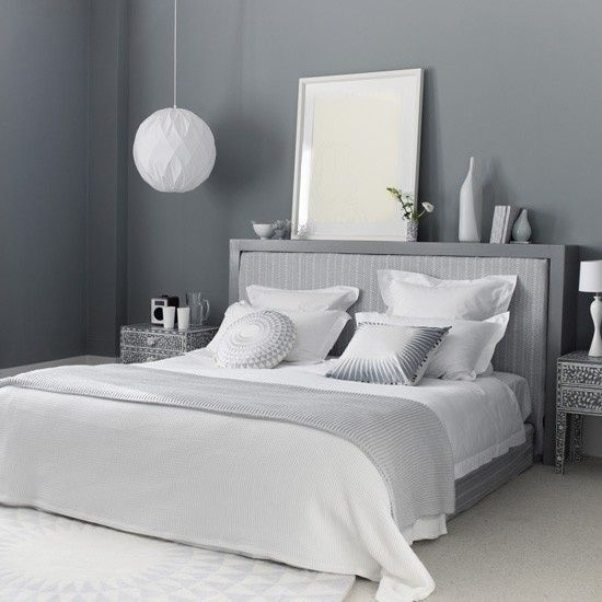 Grey bedroom- Love the headboard shelf