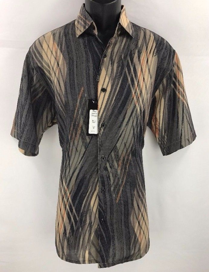 Bassiri Men's Short Sleeve Shirt Gray Khaki Black Tan Orange Sizes M - 4XL #3887 #Bassiri #ButtonFront