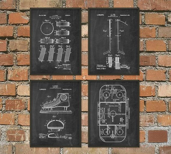 Ice Hockey Patent Print Set Of 4 - Ice Hockey Rink - Ice Hockey Puck - Ice Hockey Stick - Hockey Stick Design - NHL Ice Hockey Gift Idea