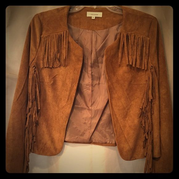 EUC: Tan Faux Suede Fringe Boho Festival Jacket- M In EUC Automatically sent to me by Stitch Fix for $69, but they don't take returns once tags have been removed. Worn 2 times. Fully lined and can boho-ify any plain tee/tank & jeans. This lightweight jacket really is much cuter on than it looks on the hanger. I just have 2 other ones just like it (see my closet- yes I might have a slight addiction...)  Stitch Fix Jackets & Coats