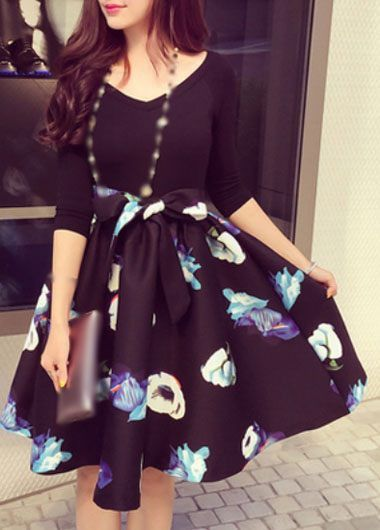 Contrast Black 3/4 Sleeve Fitted Top Floral Fit and Flare Dress
