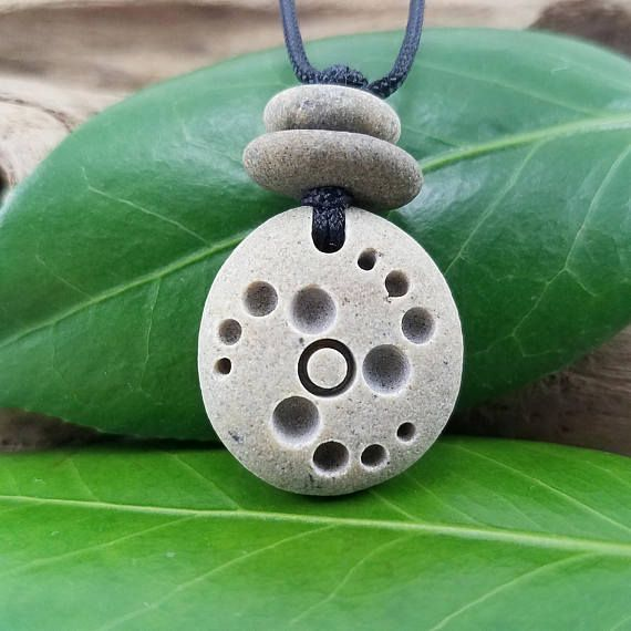 Carved Stone Necklace crop circle pendant natural stone