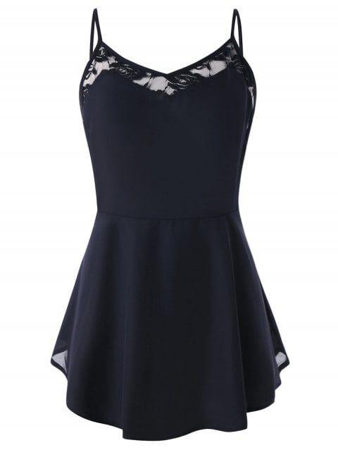 8f6061549fc Spaghetti Strap Lace Panel Plus Size Peplum T-shirt - BLACK 2XL ...