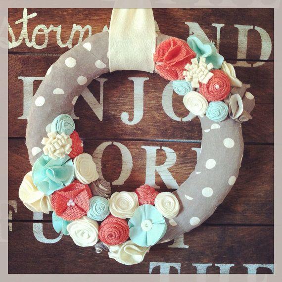 Spring wreath, gray, mint, coral, and cream wreath, summer wreath, everyday wreath, year round wreath on Etsy, $40.00