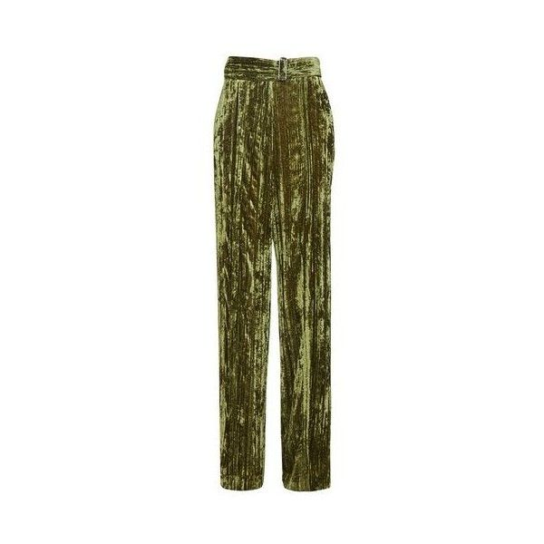 TopShop Velvet Wide Leg Trousers (£80) ❤ liked on Polyvore featuring pants, olive, green wide leg trousers, military green pants, green camo pants, green trousers and velvet trousers