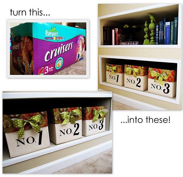 créer des boites de rangement avec les cartons de couches