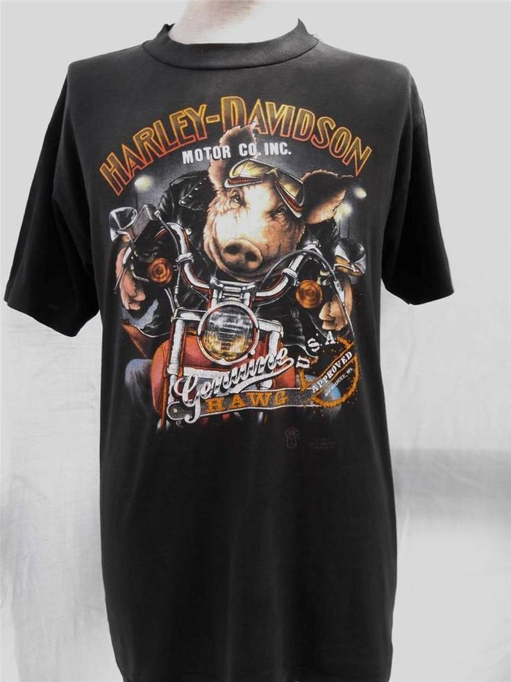 vintage 1989 t shirt harley davidson 3d hawg hawaiian size. Black Bedroom Furniture Sets. Home Design Ideas