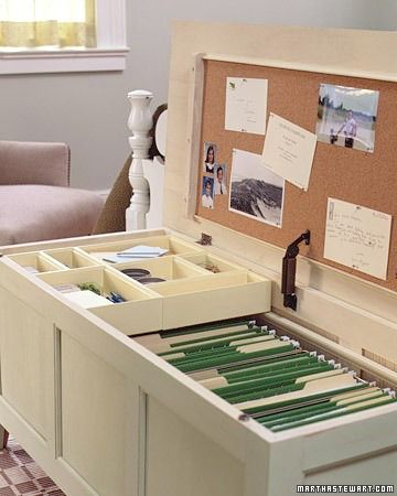 Storage bench turned file storage. Originally from Martha Stewart. This is a really neat idea if you don't have a lot of space but need to store files. This is better than having a bunch of file boxes because you can still sit on the bench. This works if you don't have a dedicated space in your home for an office, but could also work in a small home office that might need extra seating. LOVE! ❤