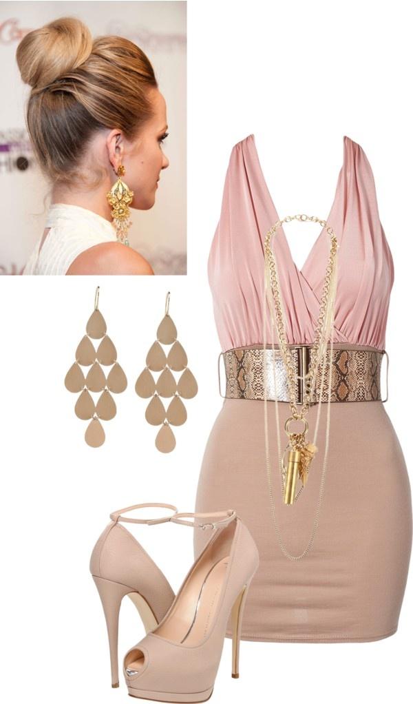 Sleek beige, light pink. Short dress, gold belt, gold earrings. Polyvore