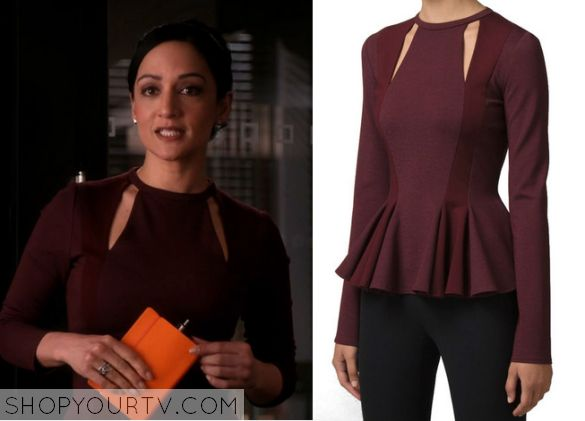 The Good Wife: Season 6 Episode 18 Kalinda's Burgundy Cut Out Top