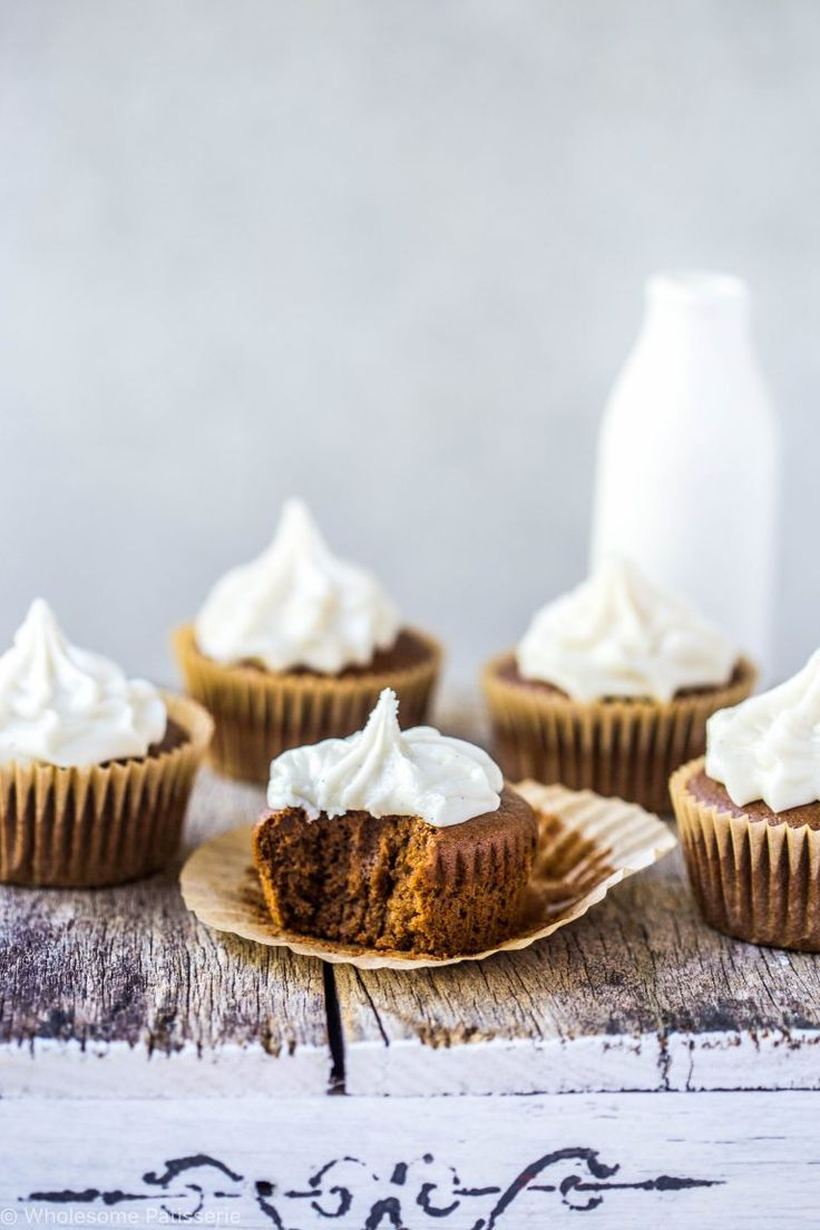 mocha cupcakes with vanilla bean frosting.