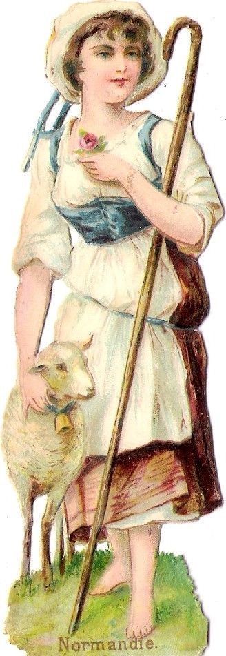 Oblaten Glanzbild scrap die cut chromo Dame femme Lady Dame Schaf Normandie lamb