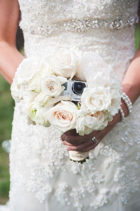 GoPro in wedding bouquet!! wedding at V3 Ranch in Breckenridge. #gopro #weddingvideo #goprowedding www.KeepingComposure.com | Keeping Composure Photography