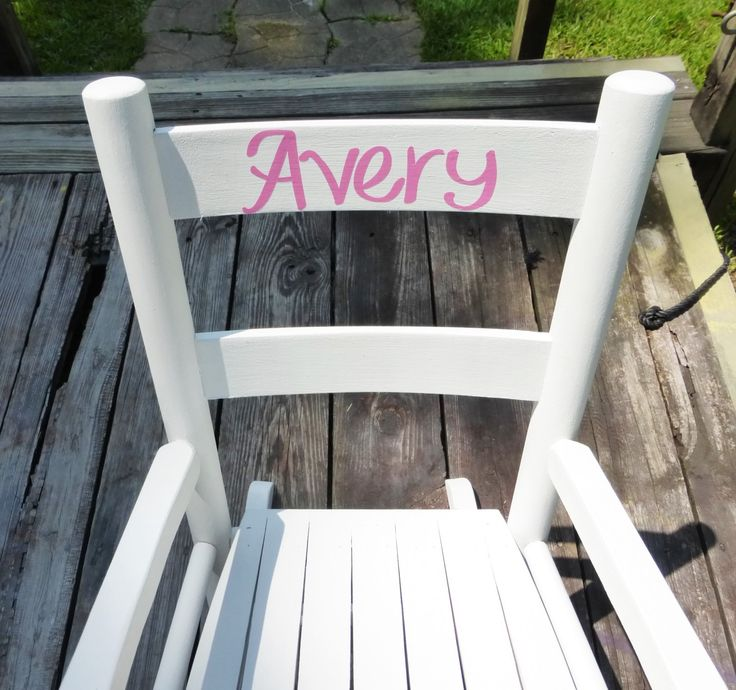 Kids Rocking Chair/ Kids Furniture / Toddler Rocking Chair / Pink And White  / Choose Color And Personalized Name