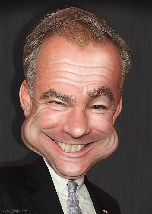 Timothy Michael Kaine, aka Tim Kaine, is a Democrat serving as a Senator from Virginia. Kaine was previous elected Governor of Virginia, Lieutenant Governor of Virginia and Mayor of Richmond. He is the nominee of the Democratic Party for Vice President of the United States in the 2016 election. This caricature of Tim Kaine was adapted from a photo in the public domain from Inter-American Dialogue's Flickr photostream.